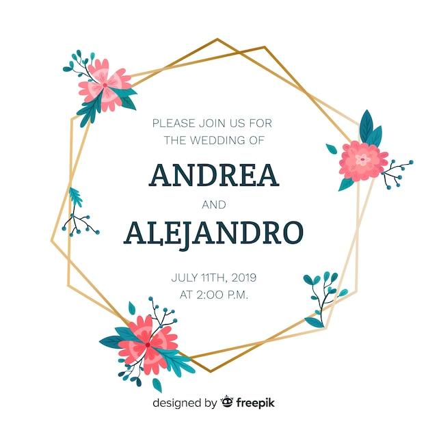 Design plano de convite de casamento moldura floral Vetor grátis