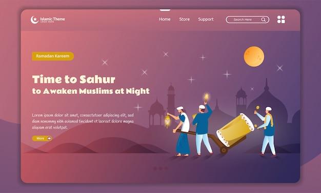 Design plano de despertar muçulmano à noite ou sahur para o conceito de ramadã na página inicial Vetor Premium