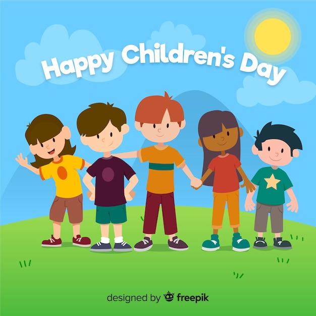 Design plano de dia das crianças com crianças de mãos dadas Vetor grátis