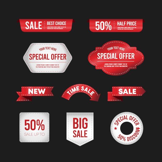 Design plano de etiquetas. coleção de marcas de venda. Vetor Premium