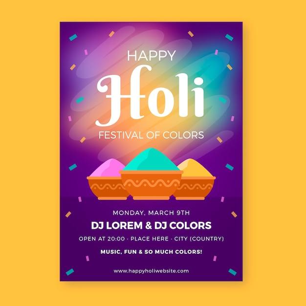 Design plano de festa holi festival flyer com tinta em pó colorida Vetor grátis