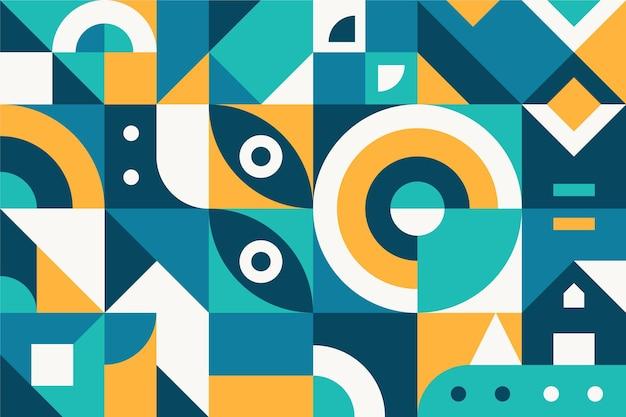 Design plano de formas geométricas abstratas em azul e laranja Vetor Premium