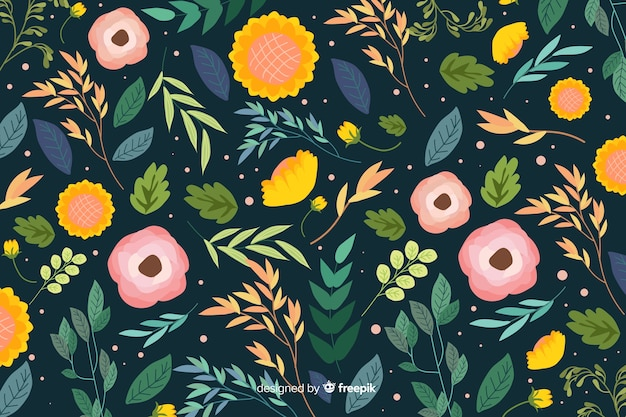 Design plano de fundo de flores coloridas Vetor grátis