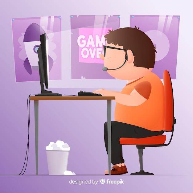 Design plano de fundo de gamer computador Vetor grátis