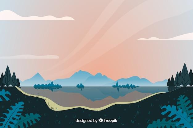 Design plano de fundo de paisagem natural Vetor grátis