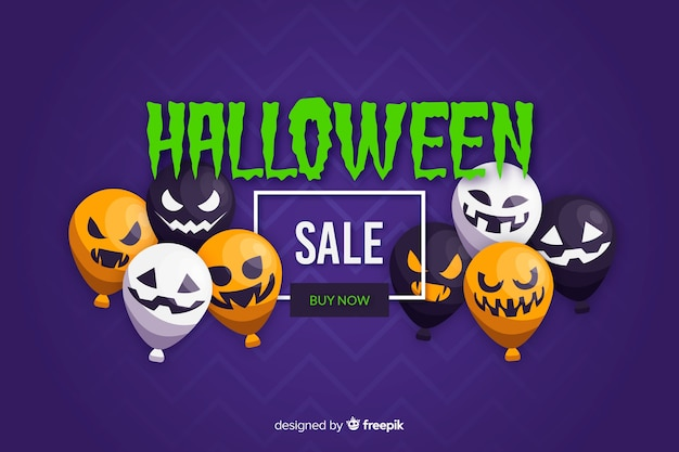 Design plano de fundo de venda de halloween com balões Vetor grátis