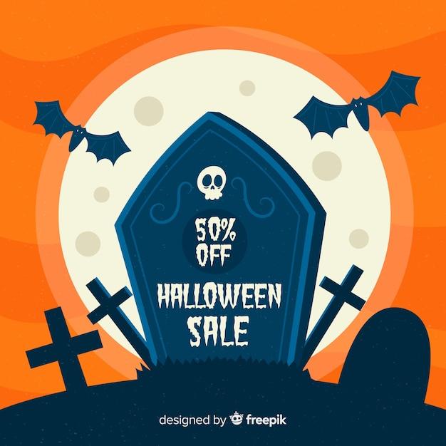Design plano de fundo de venda de halloween Vetor grátis