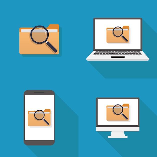 Design plano de ícone de arquivo Vetor Premium