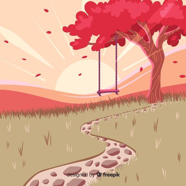Design plano de ilustração de paisagem natural Vetor grátis