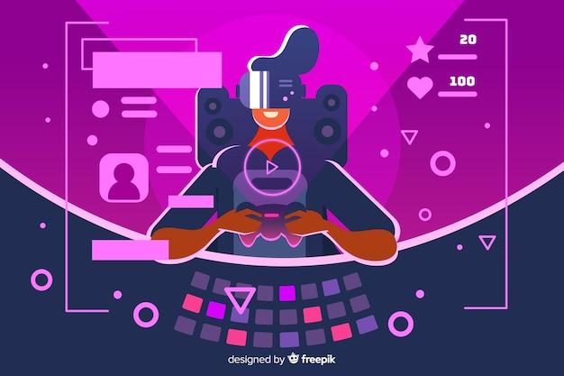 Design plano de ilustração decorativa gamer Vetor grátis