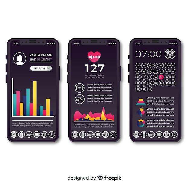 Design plano de infográfico de app móvel de aptidão Vetor grátis