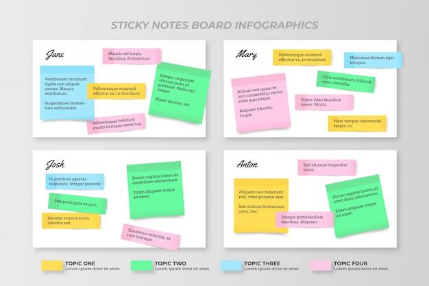Design plano de infográficos de post-its Vetor grátis