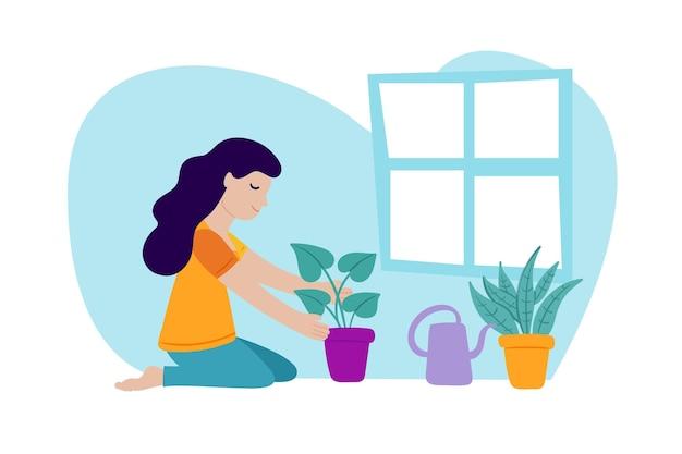 Design plano de jardinagem em casa ilustração do conceito com mulher Vetor grátis