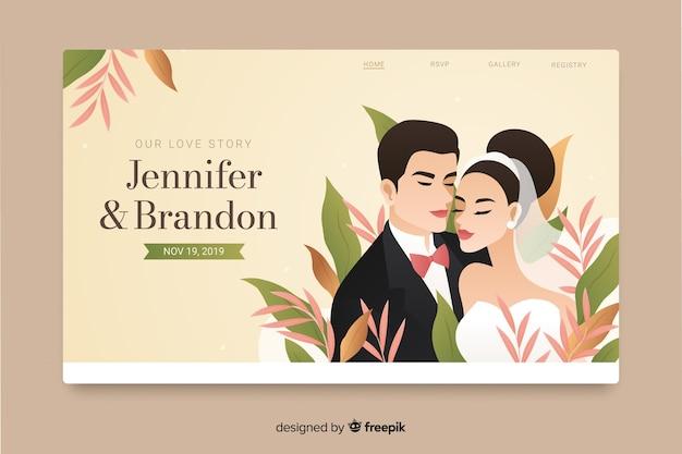 Design plano de landing page de casamento Vetor grátis