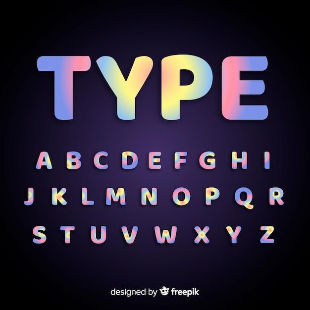 Design plano de modelo de alfabeto de gradiente Vetor grátis