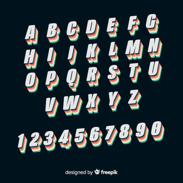 Design plano de modelo de alfabeto vintage Vetor grátis