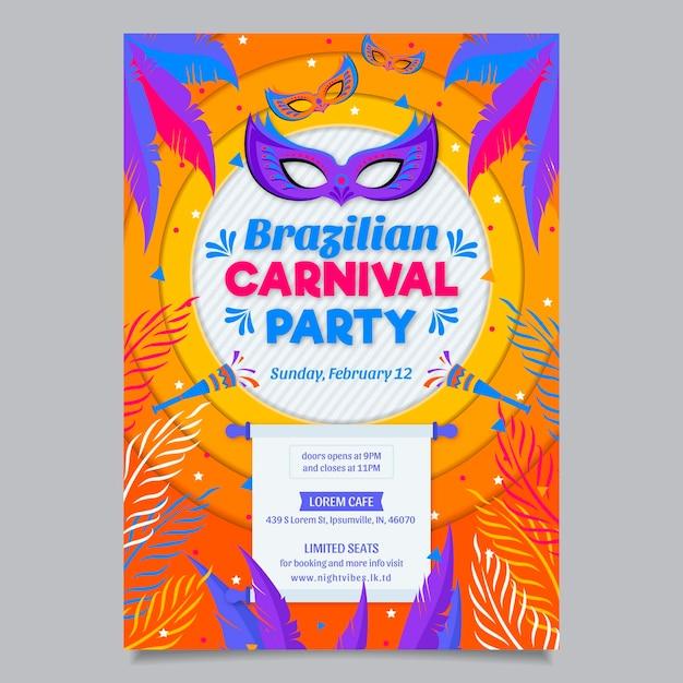 Design plano de modelo de cartaz de carnaval brasileiro Vetor grátis