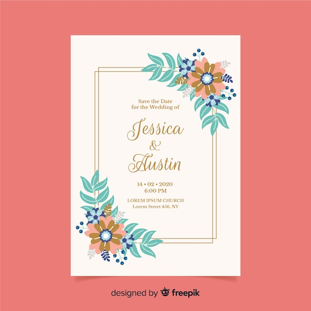 Design plano de modelo de convite de casamento floral Vetor grátis