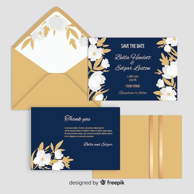 Design plano de modelo de convite de casamento Vetor grátis
