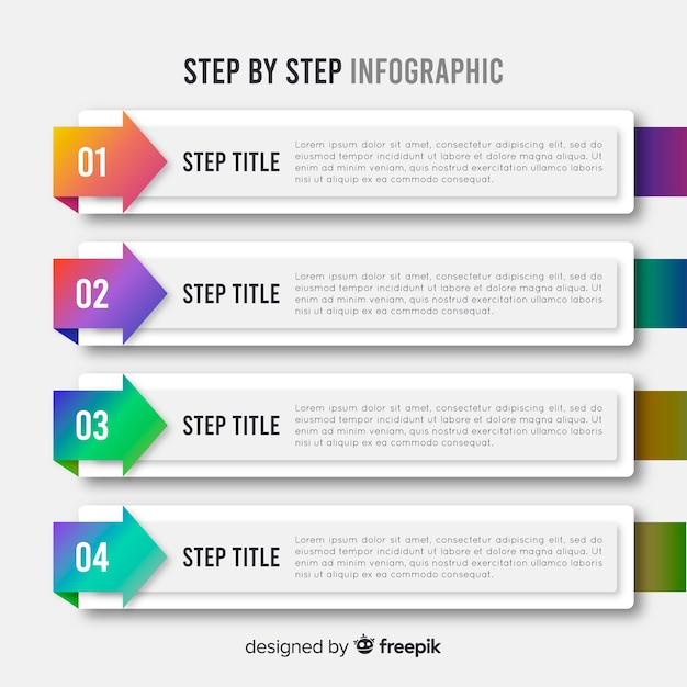 Design plano de modelo de etapas de infográfico Vetor grátis