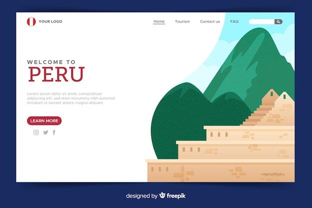 Design plano de modelo de página de destino de boas-vindas Vetor grátis