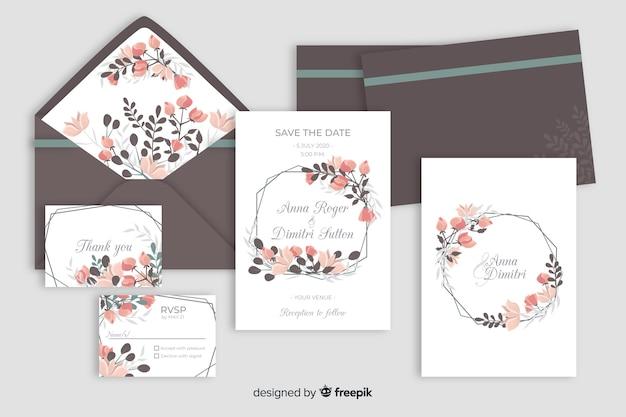 Design plano de modelo de papelaria de casamento Vetor grátis