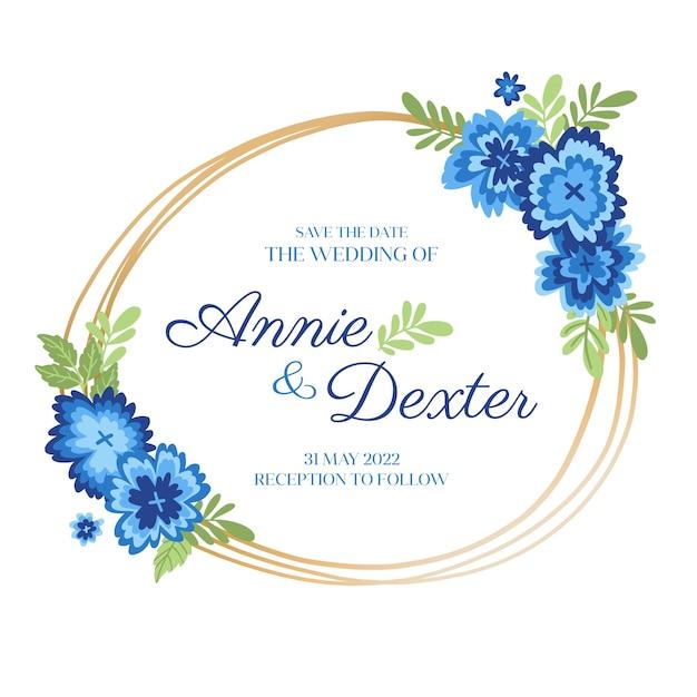 Design plano de moldura floral casamento Vetor grátis