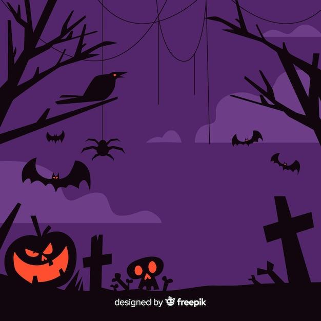 Design plano de moldura roxa de halloween Vetor grátis