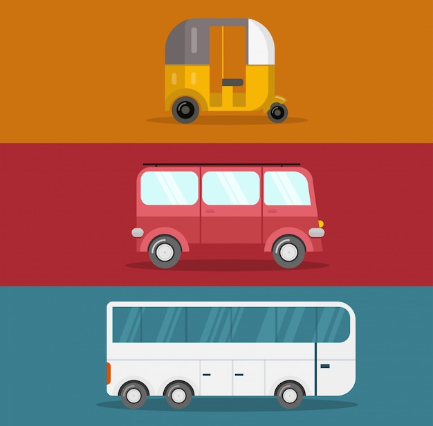 Design plano de ônibus Vetor Premium