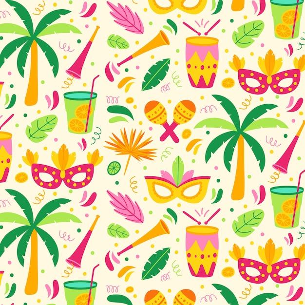 Design plano de padrão colorido carnaval brasileiro Vetor grátis