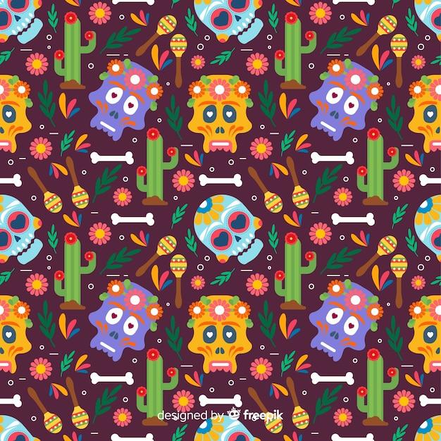 Design plano de padrão colorido dia de muertos Vetor grátis