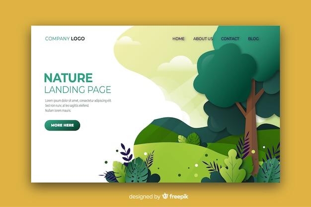 Design plano de página de aterrissagem de natureza Vetor Premium
