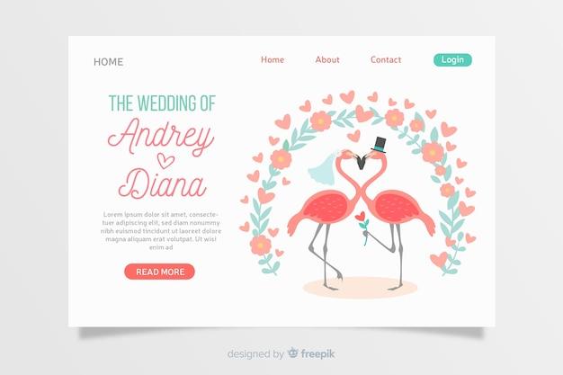 Design plano de página de destino de casamento Vetor grátis