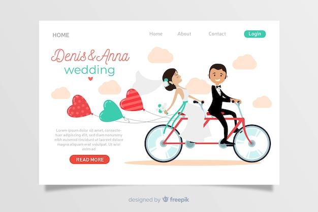 Design plano de página de destino de casamento Vetor Premium