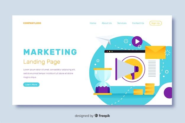 Design plano de página de destino de marketing Vetor grátis