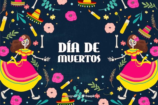 Design plano de plano de fundo colorido dia de muertos Vetor grátis