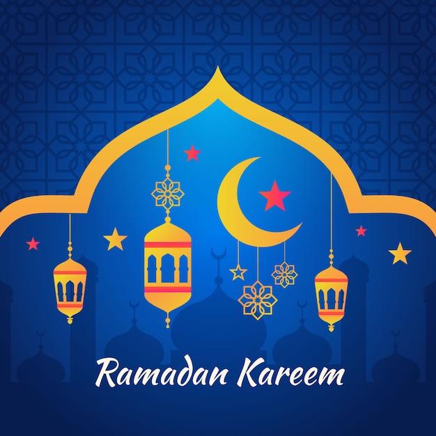 Design plano de ramadan kareem Vetor Premium