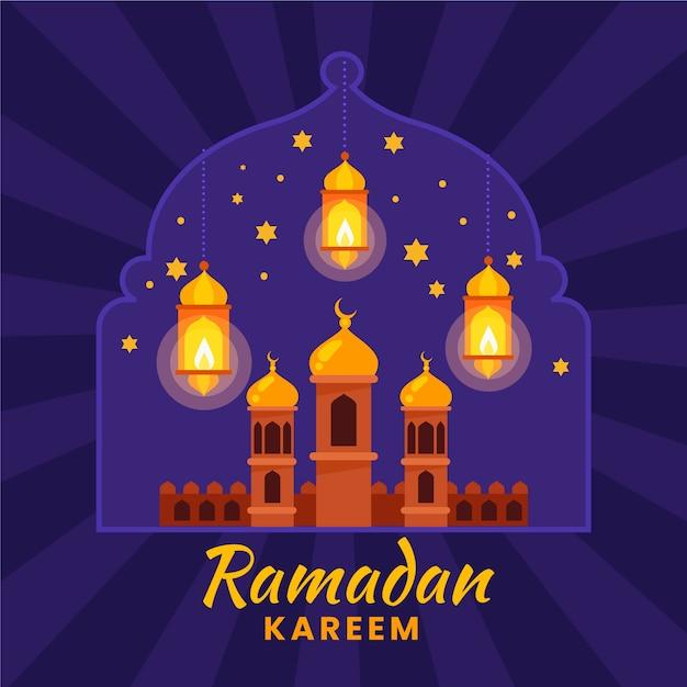 Design plano de ramadan kareem Vetor grátis