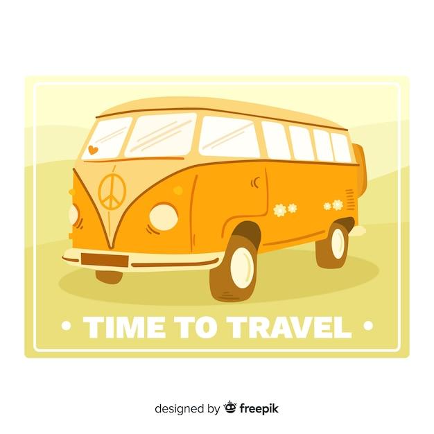 Design plano de rótulo de viagens vintage Vetor grátis