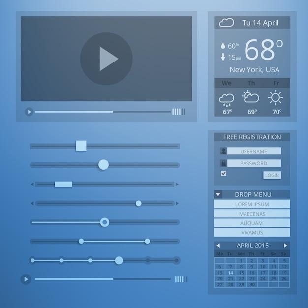 Design plano de transparência da interface do usuário de elementos da web. configuração e menu do site, clima e controle, conta e dados, página da web e reprodutor de vídeo. Vetor grátis