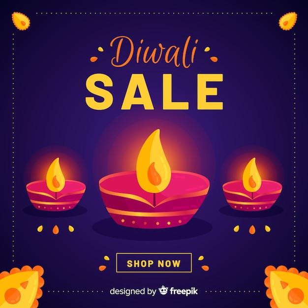 Design plano de venda de diwali Vetor grátis