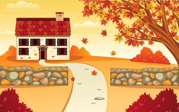 Design plano de vetor de inspiração de uma casa de paisagem e quintal no outono que torna a beleza laranja. Vetor Premium