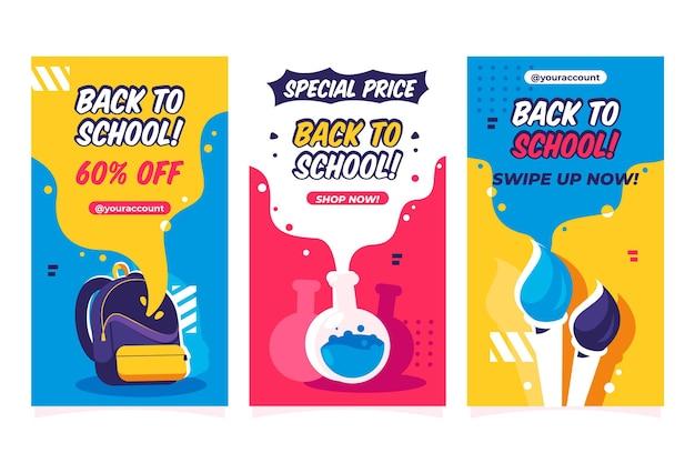 Design plano de volta à coleção de histórias instagram da escola Vetor grátis