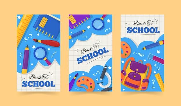 Design plano de volta à escola instagram stories pack Vetor grátis