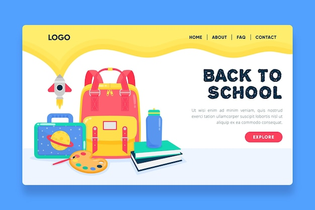 Design plano de volta ao modelo de página de destino da escola Vetor grátis