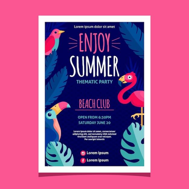 Design plano desfrutar de cartaz de festa de verão Vetor grátis