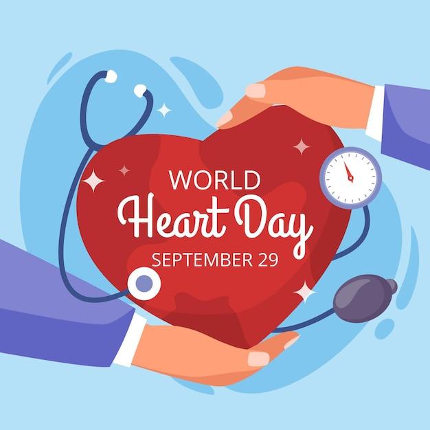 Design plano dia mundial do coração com estetoscópio e mãos Vetor grátis