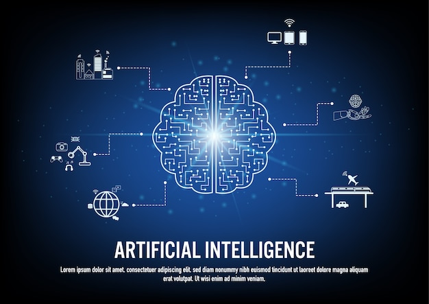 Design plano do conceito de inteligência artificial Vetor Premium