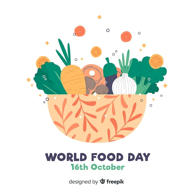 Design plano do dia mundial da comida Vetor Premium