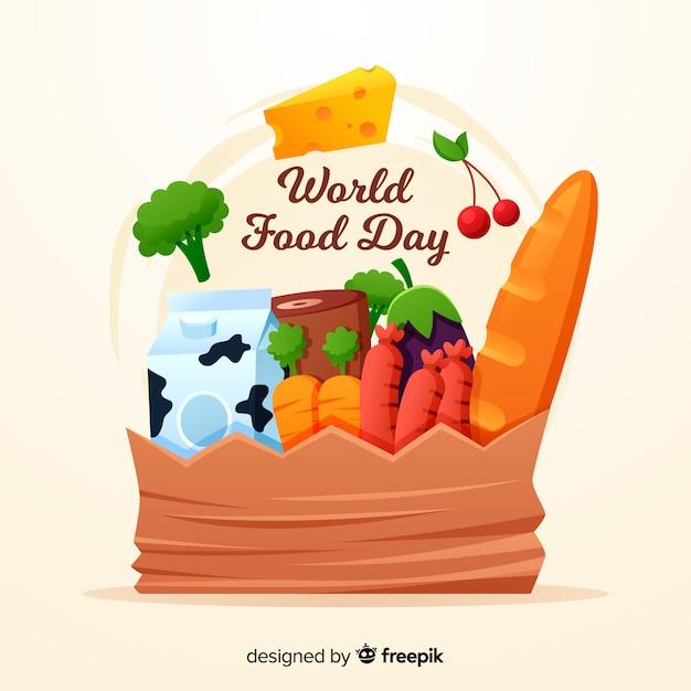 Design plano do dia mundial da comida Vetor grátis